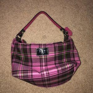 pink plaid coach purse